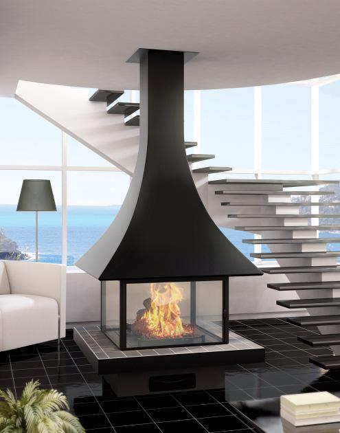 cheminee centrale orientable posee ou suspendue